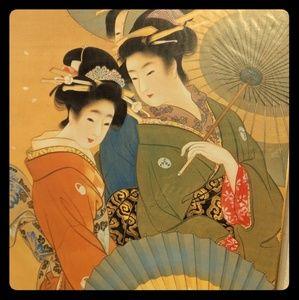 Japanese art board geisha print by Uemura Shoen